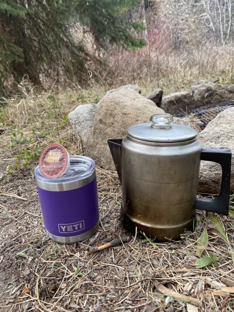 camp coffee hack with coffee pods and hot water