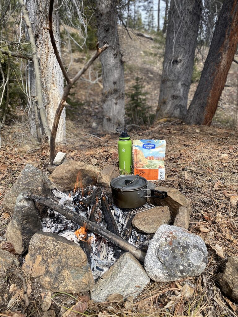 backcountry meal and cooking pot
