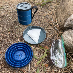 camp coffee with a GSI pour over kit and coffee grounds