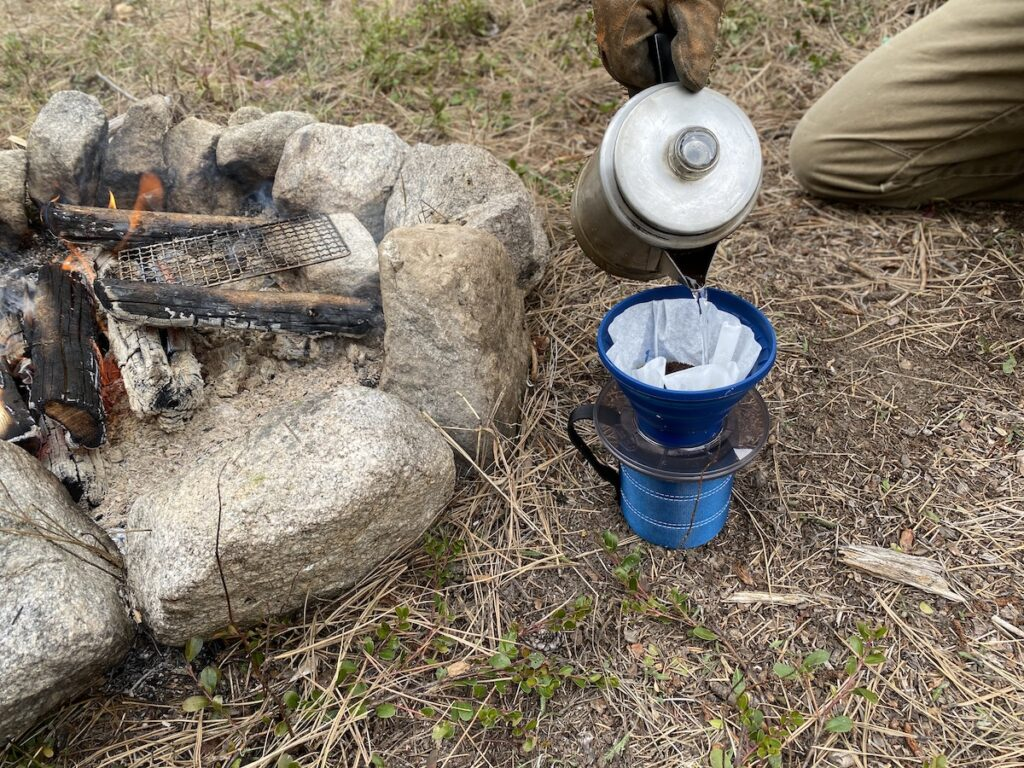 pour over coffee campfire