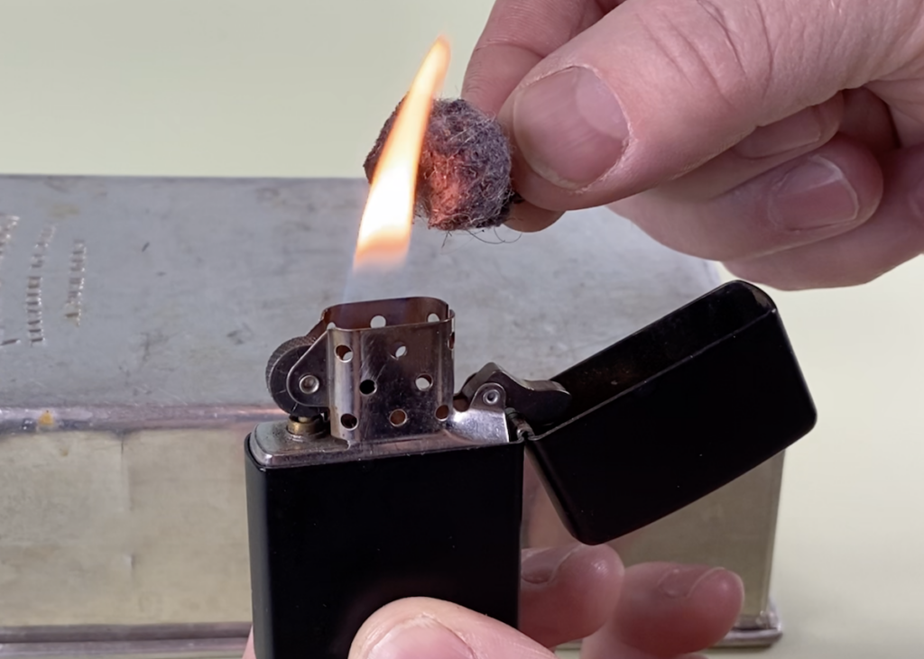 lighting lint and petroleum jelly with zippo