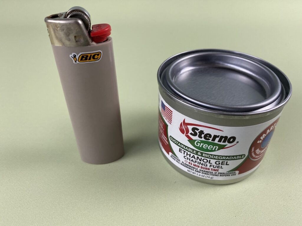 Sterno ethenol gel and bic lighter