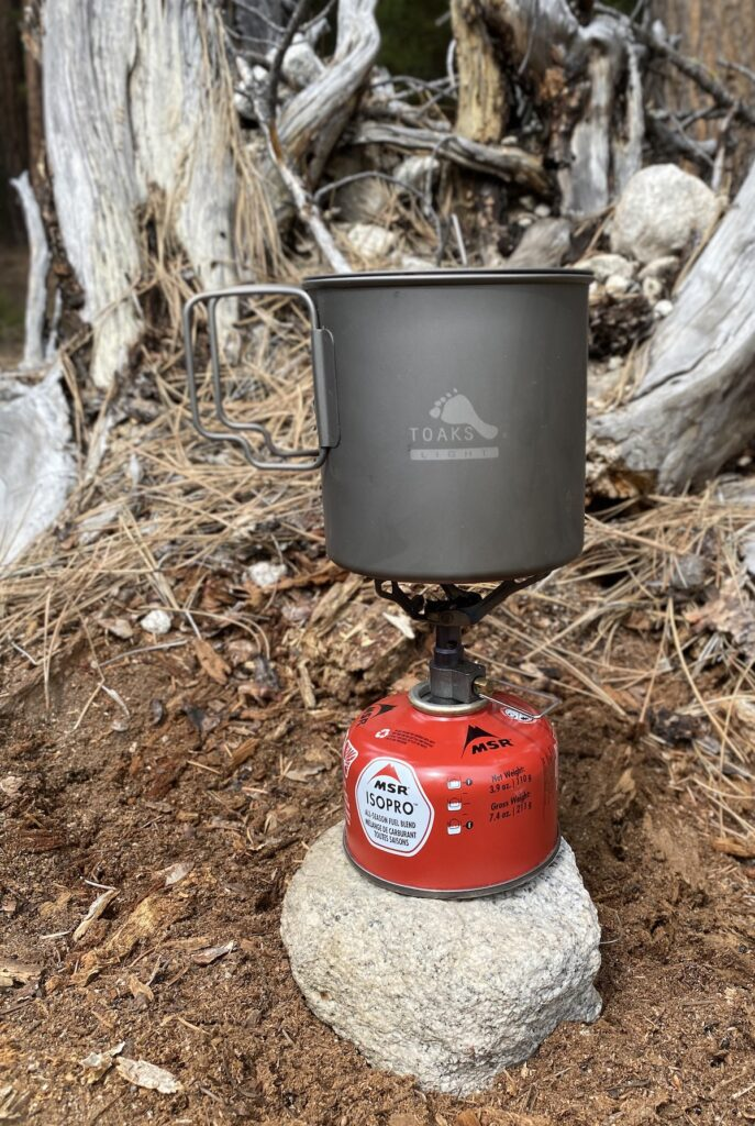 toaks camping pot on a portable stove