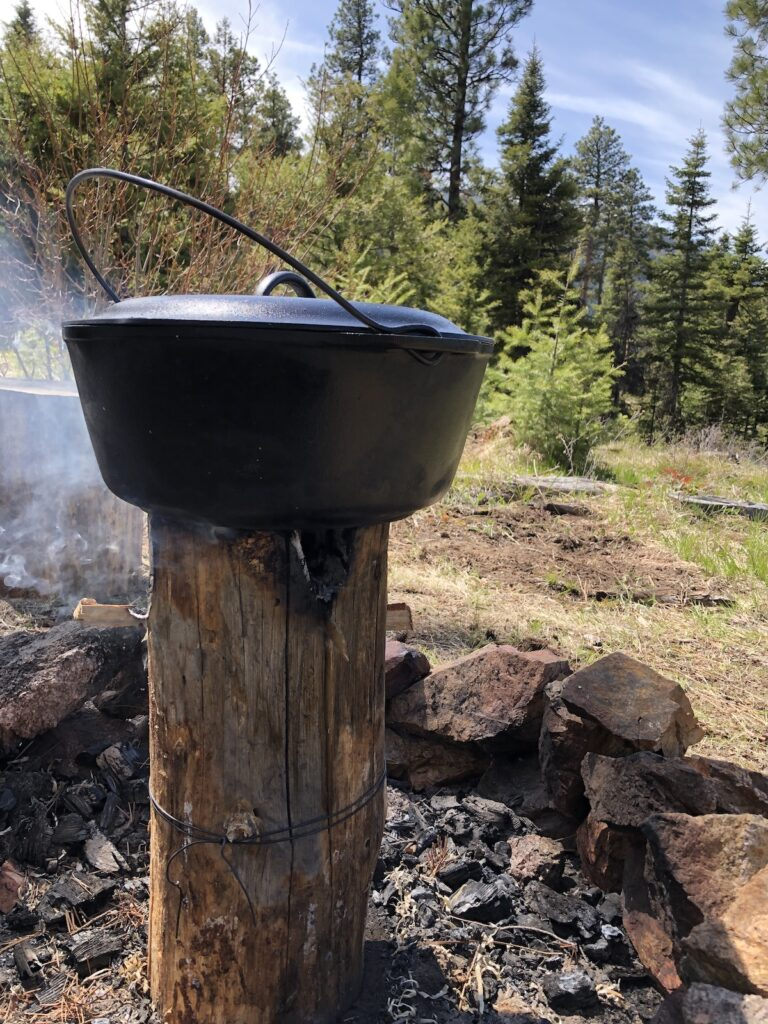 dutch oven cooking on a Swedish torch
