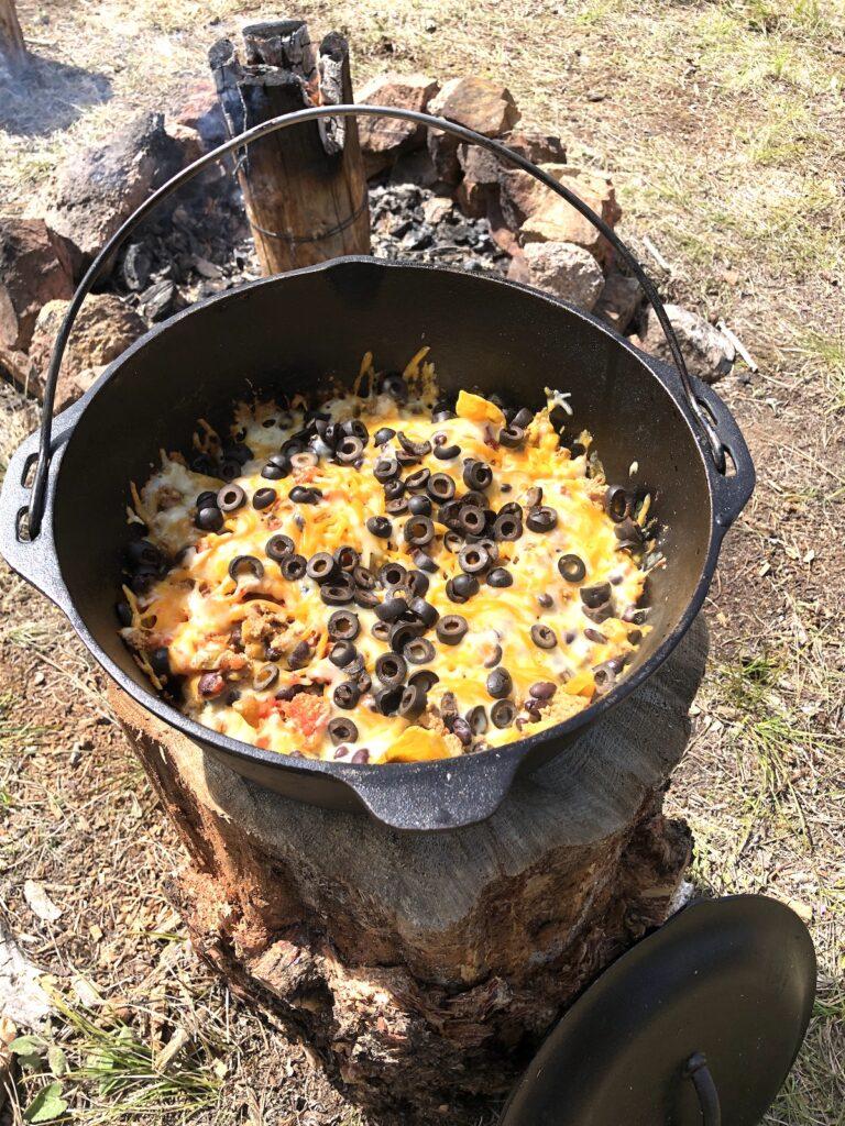 campfire nachos in a dutch oven