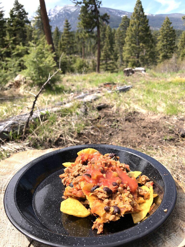 campfire nachos over a campfire