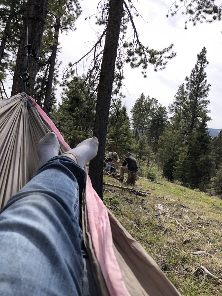 hanging out in a hammock out in the woods