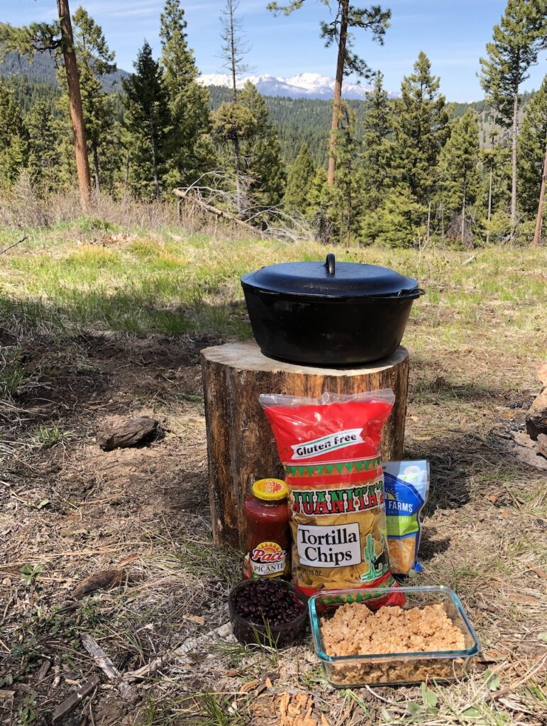 ingredients for campfire nachos in a dutch oven