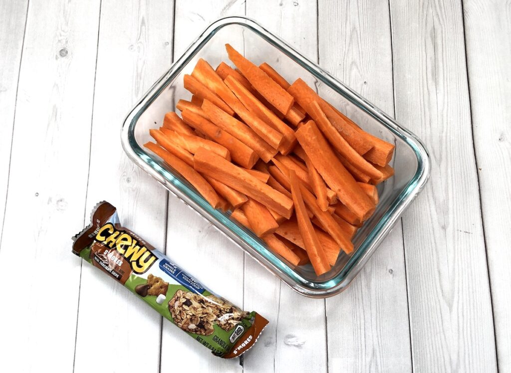 snacks like carrots and granola bars for camping