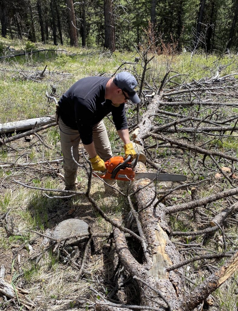 cutting a log for the fire with a chainsaw