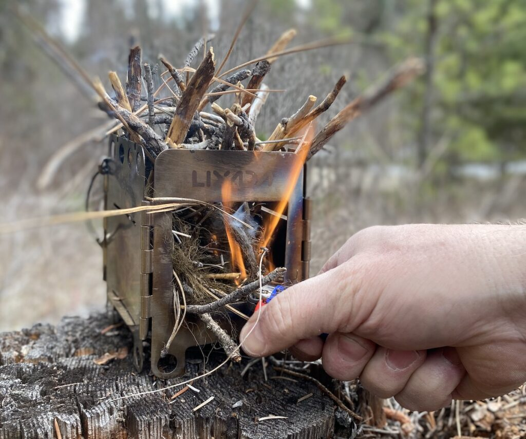 lighting a small backpacking stove
