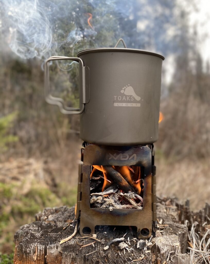 Lixada stove with Toaks  cup for boiling water