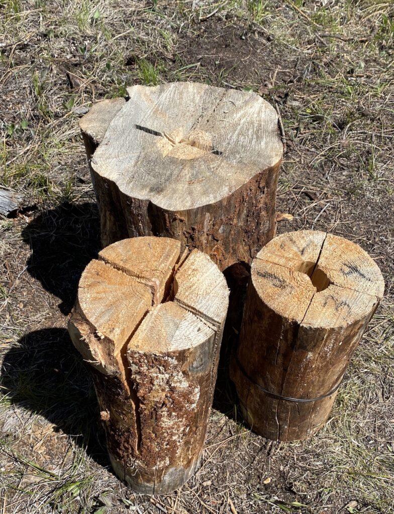 Three types of Swedish torch logs