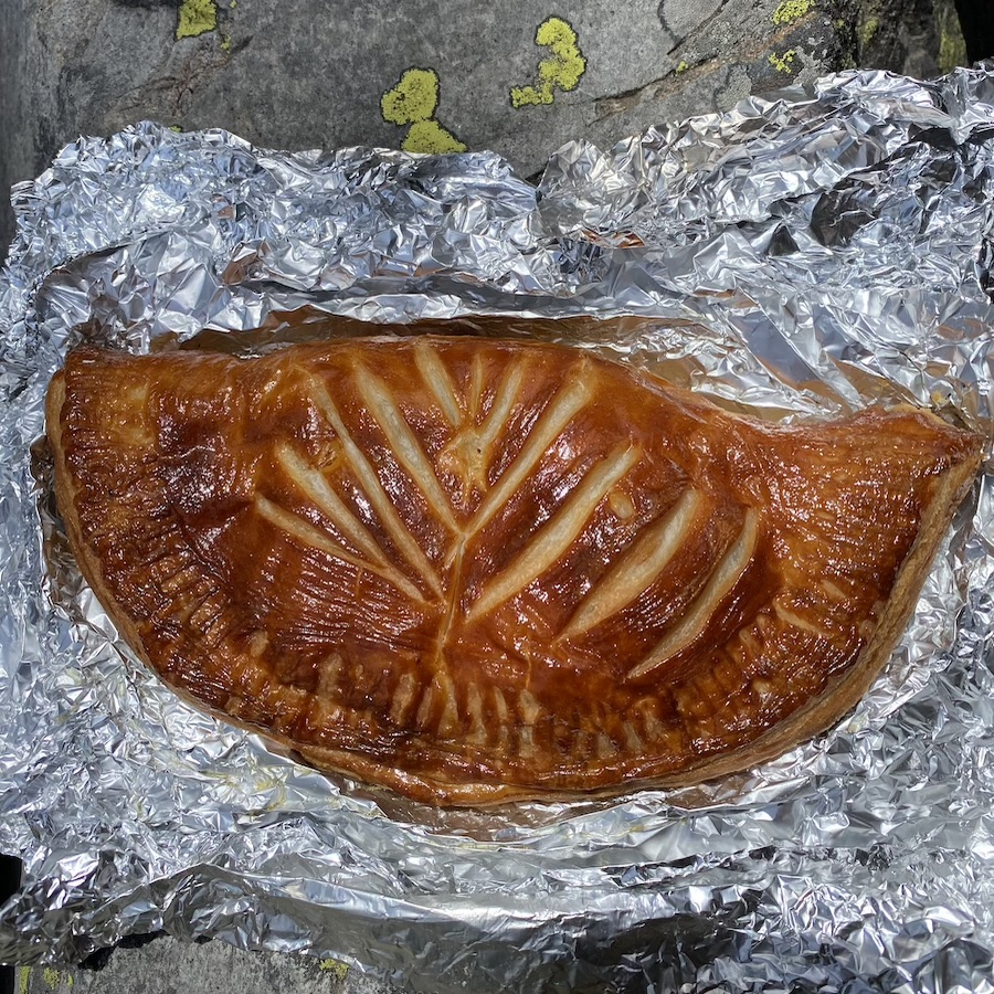 rewarmed empanada from Odd Fellows bakery on our camp trip