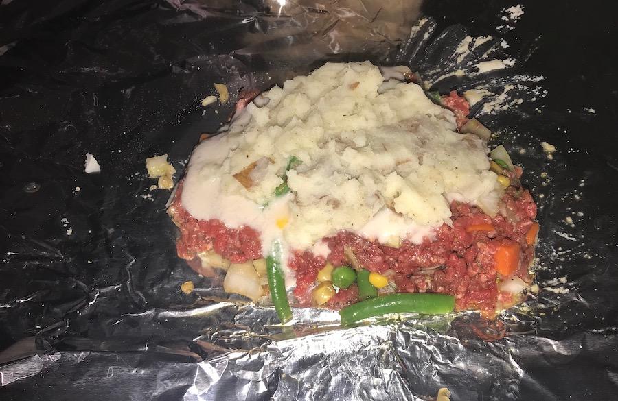 burger, potatoes, veggies in tin foil for dinner