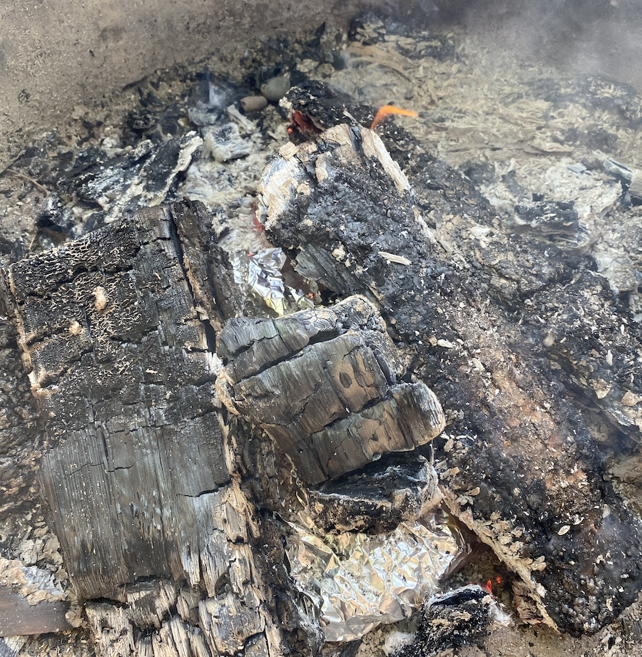 bed of coals for foil packet meals