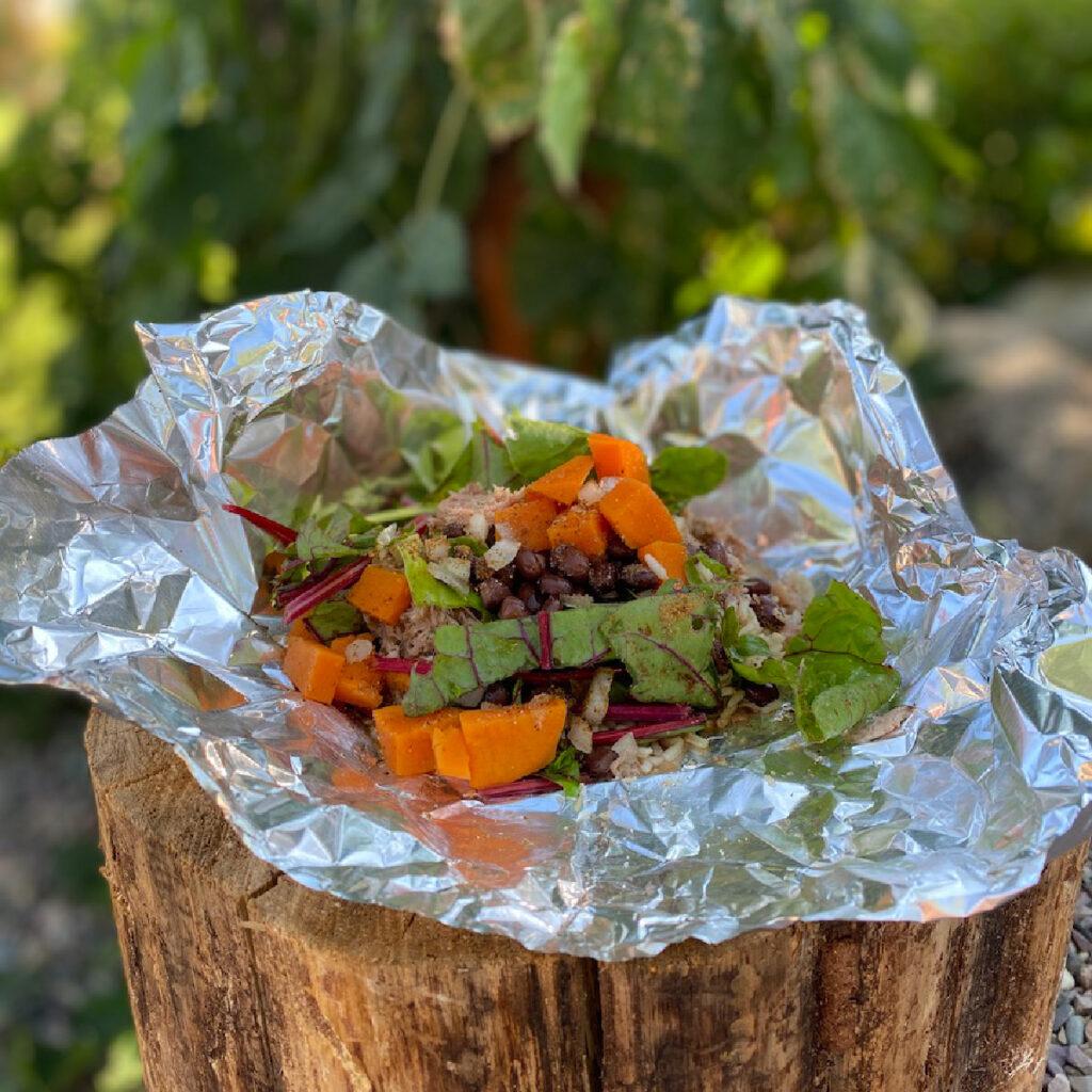 pork, swiss chard, sweet potatoe, Brazilian style tin foil dinner for camping