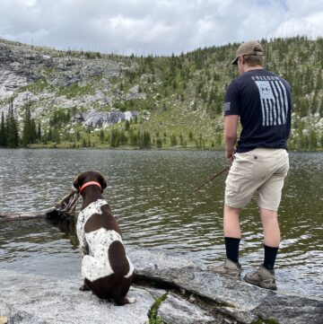 backpacking and fishing a high mountain lake