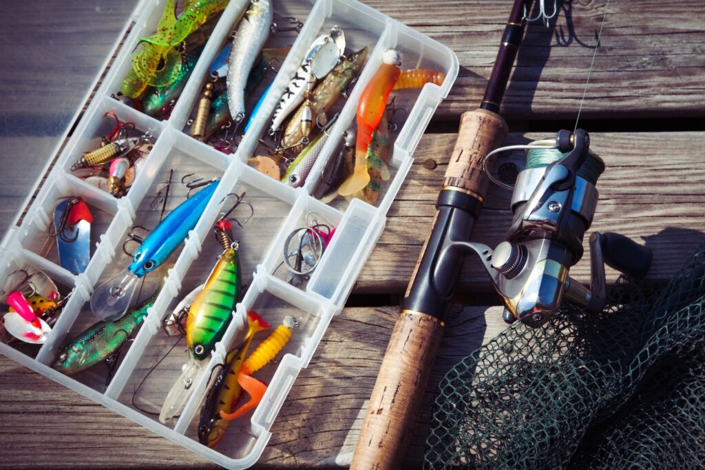 Fishing Lures in tackle boxes