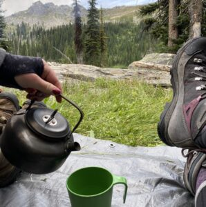 wild camping with coffee