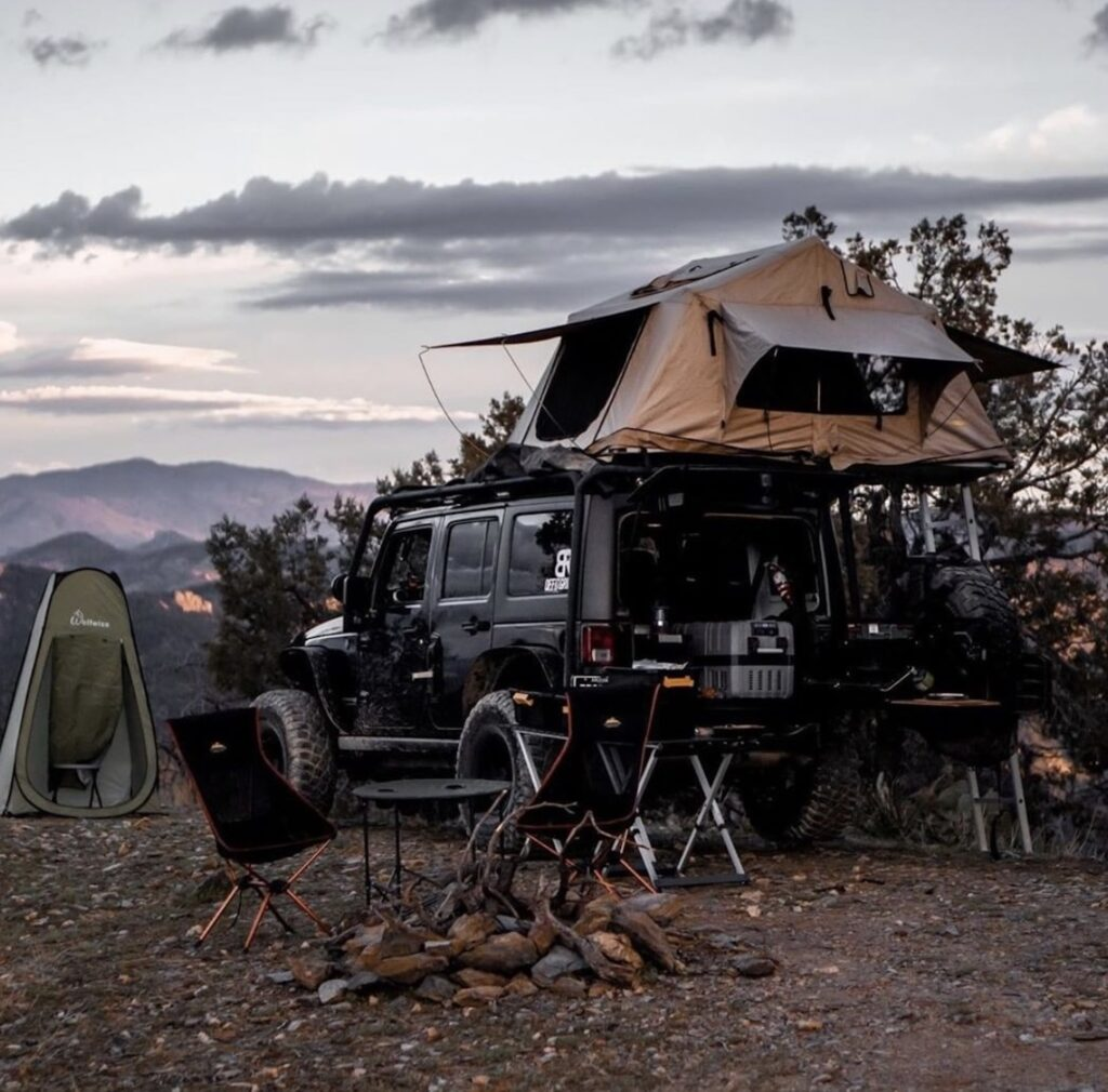 shower tent while camping
