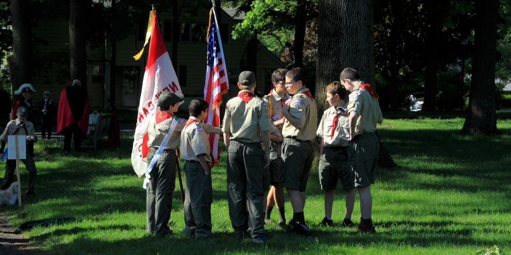 Large group of boy scouts