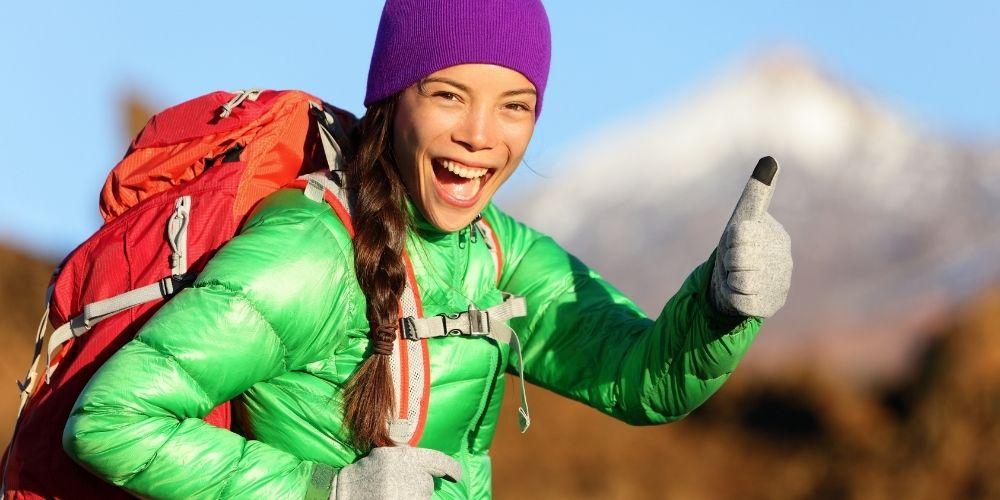 Woman wearing hiking jacket
